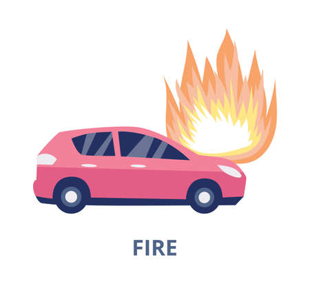Road fire accident symbol of car burning in flames after crash or breakdown, flat vector illustration isolated on white background. Transport insurance case symbol.