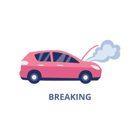 Symbol of auto breaking case of car insurance policy, flat vector illustration isolated on white background. overing the cost of repairing broken car with insurance.