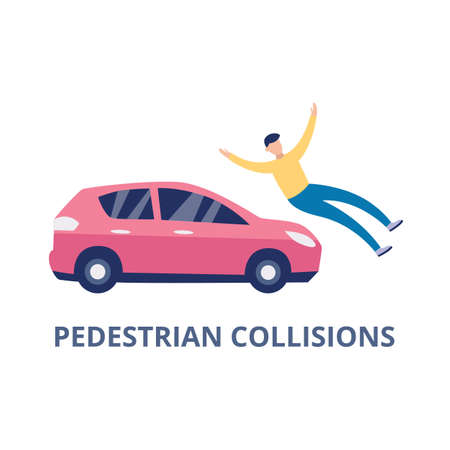 Road car accident with pedestrian collision, flat vector illustration isolated on white background. Transport and health insurance case sign or symbol. Иллюстрация