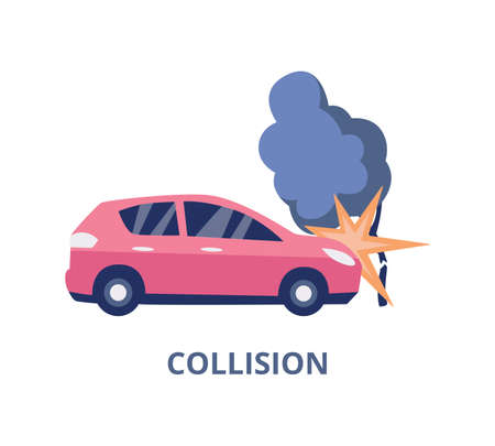 Collision and road accident car insurance banner template, flat vector illustration isolated on white background. Kind of transport insurance case emblem or sign. Illustration