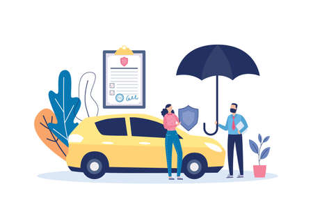 Car insurance banner template with agent holding an umbrella, flat vector illustration isolated on white background. Banner or poster for transport assurance agency.