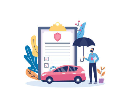 Car insurance policy document with automobile and insurance agent holding an umbrella, flat vector illustration isolated on white background. Transport accident belay.