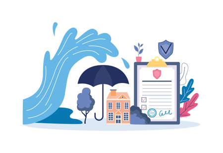 House insurance banner concept - flood water wave coming over building protected by big umbrella and signed protection policy contract. Vector illustration.