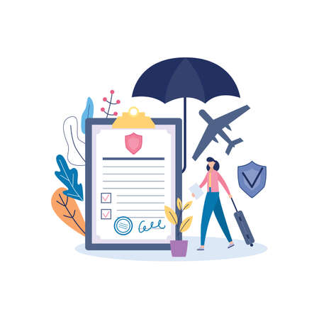 Travel insurance policy banner template with document and woman goes on a journey, flat vector illustration isolated on white background. insurance service for traveler.