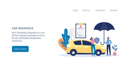 Web page template for car and transport insurance agency with people standing near a car, flat vector illustration. Business website of insurance services design. Иллюстрация