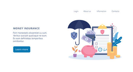 Money and bank account insurance web banner template with piggy bank and umbrella, flat cartoon vector illustration. Protection of savings and deposit accounts.