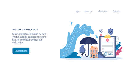 House and real estate or property insurance web page template, flat vector illustration. Insurance coverage and compensation for flood damage and other natural disasters.