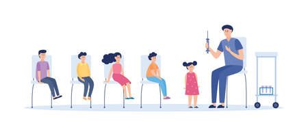 A friendly doctor gives an injection of the vaccine to children. Children sit on chairs and wait for their turn. Vector illustration on a white background. Illusztráció
