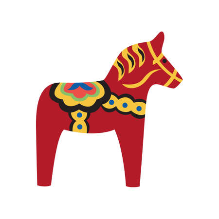 Red wooden horse with ornate - national symbol of Sweden and talisman of good luck. Swedish Dalarna horse flat vector illustration isolated on white background. Illusztráció