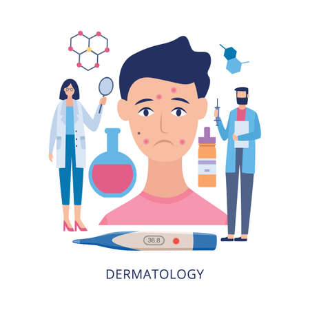 Banner template for dermatology specialist and skin medical exam with cartoon characters of dermatologists doctors, flat vector illustration isolated on white background.