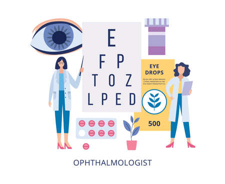 Ophthalmologists doctors cartoon characters near the poster with letters and optical optometrist equipment, flat vector illustration isolated on white background.
