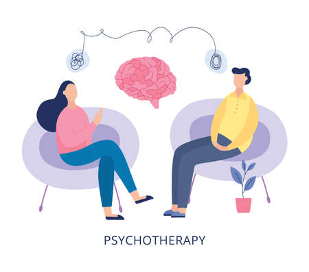 Psychotherapy poster - cartoon people at mental heath therapy session sitting on chairs and talking about problems and brain parts. Vector illustration of therapist office.