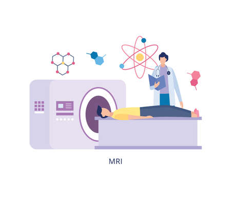 Tomography diagnostic body scan in hospital, flat vector illustration isolated on white background. Medical MRI health examination or checkup in healthcare clinic. Ilustracja