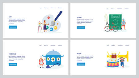Set of website pages for children creative and hobby activity with children fond of sport, culinary and art, flat vector illustration. Kids art and sport classes.