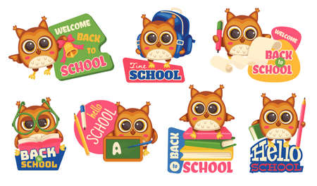 School cute smart owls with captions-Back to school, welcome and Hello school. A set of vector cartoon characters isolated on a white background.