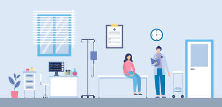 Medical examination or medical check up in a hospital room. The doctor reviews the patients medical history. The patient is sitting on the couch. Flat vector illustration of a medical interior.