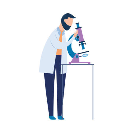 Doctor conducts healthcare laboratory research and observing through a microscope, flat vector illustration isolated on white background. Health check or medical examination.