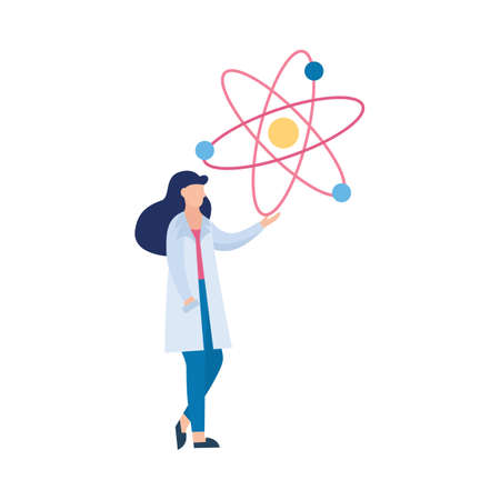 Cartoon character of woman scientist or doctor pointing on chemical molecule model, flat vector illustration isolated on white background. Medical laboratory researches.