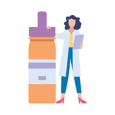 Woman doctor or pharmacologist cartoon character with huge drugs bottle, flat vector illustration isolated on white background. Medical prescription or health exam topic.