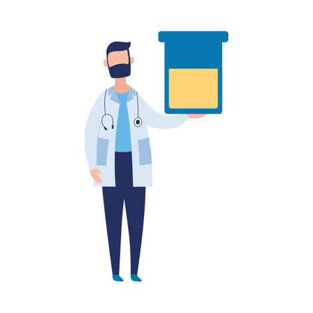 Male character of doctor holding blank banner, flat vector illustration isolated on white background. Doctor invites patients on health checkup or medical examination.