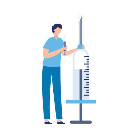 Tiny man doctor in uniform coat standing with huge syringe. Healthcare medical examination and vaccination, flat vector illustration isolated on white background.