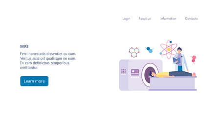 Website template for MRI tomography diagnostic and body scan, flat vector illustration on white background. Medical MRI health examination or checkup landing page. Ilustracja
