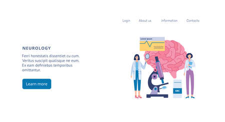Neurology and neurobiology clinic web page interface with neurologist doctors characters, flat vector illustration. Medical Neurological diagnosis center. Vector Illustration