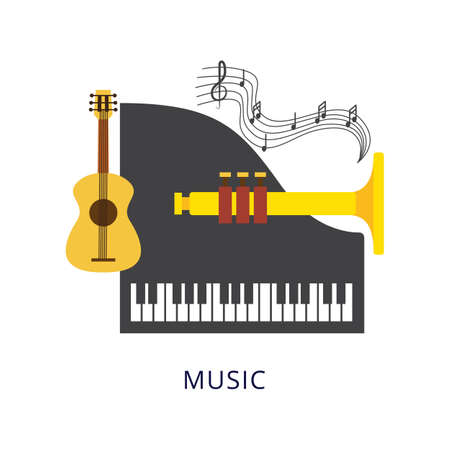 Musical instruments for school, College, or University. A set of elements of school music education. Vector illustration isolated on a white background.