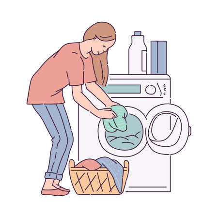 Woman putting laundry into washing machine. Housewife cartoon character busy with house chores and daily job, sketch vector illustration isolated on white background. Vektorové ilustrace