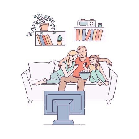 Family sits hugging on sofa and watching a TV show together, sketch vector illustration isolated on white background. Cartoon characters of parents and child at home.