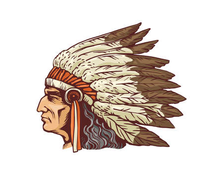 Indian chief head portrait in native feather headdress, sketch cartoon vector illustration isolated on white background. Historic Indian tribe man character. Vecteurs