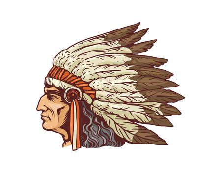 Indian chief head portrait in native feather headdress, sketch cartoon vector illustration isolated on white background. Historic Indian tribe man character. Vektoros illusztráció