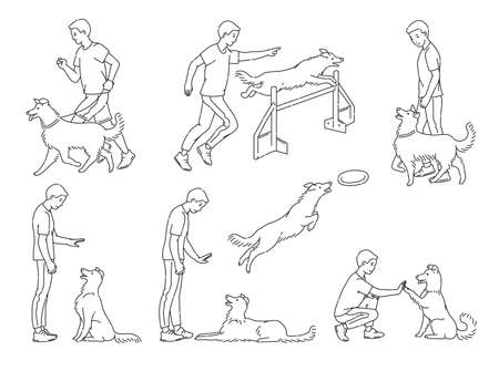 Scenes of dog training with cartoon characters of man and his pet learning various commands and tricks, sketch line vector illustration isolated on white background. Vecteurs
