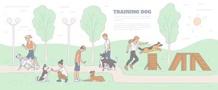 Training dog banner with pets and trainers characters on playground, sketch cartoon vector illustration. School for dogs obedience training and commands teaching.