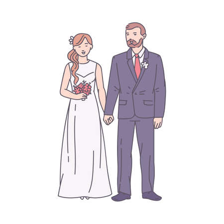 Groom and bride in wedding outfit standing holding hands, sketch cartoon vector illustration isolated on white background. Couple of man and woman getting married.