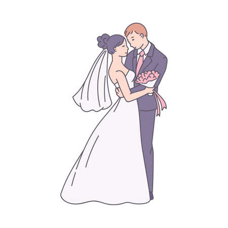 Bride in white dress and groom cartoon characters of hugging couple, sketch vector illustration isolated on white background. Wedding scene of loving couple.