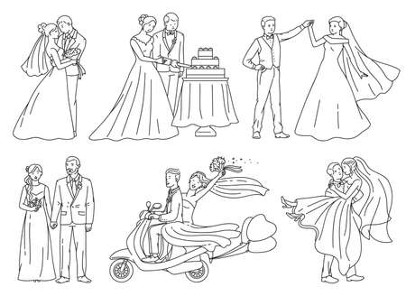 Bride and groom on wedding day - outline drawing set for coloring book isolated on white background. Happy cartoon newlywed couple vector illustration collection