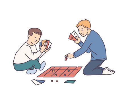 Two boys playing tabletop board game with cards - cartoon children sitting on the floor with card game pieces isolated on white background, vector illustration.