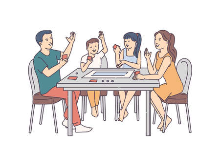Happy cheerful family playing board games at table, sketch cartoon vector illustration isolated on white background. Family lifestyle and joint leisure activity.