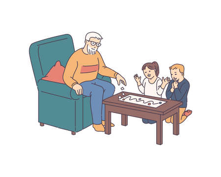 Grandfather playing Board Game with grandchildren, sketch cartoon vector illustration isolated on white background. Family together on holidays with old aged pensioner. Illusztráció