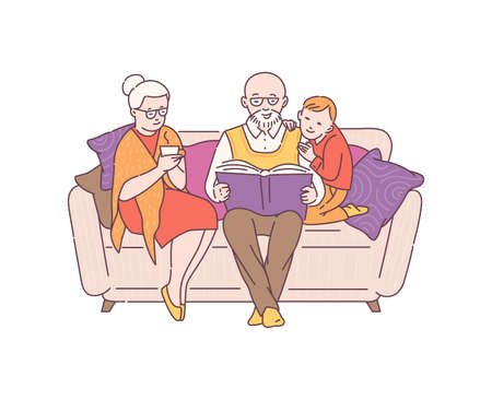 Grandparents spending time at home with their grandson and reading a book, sketch cartoon vector illustration isolated on white background. Family joint recreation.