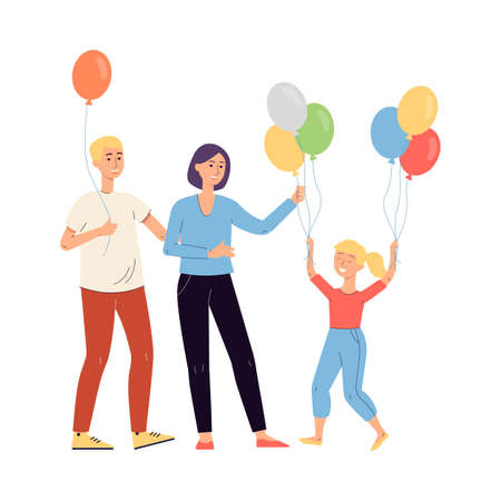 Parents giving balloons to their daughter, flat vector illustration isolated on white background. Family celebrates a childs birthday or family holiday.