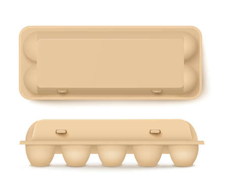 Container chicken eggs brown cardboard packaging 3d mockup. Special package for retailing in shops template, realistic vector illustration white background