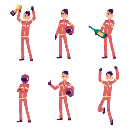Set of car racing driver cartoon character standing in various poses, flat vector illustration isolated on white background. Racer sportsman or pilot of racing car. Ilustração Vetorial