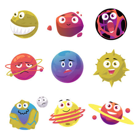 Set of cute space planets and meteors cartoon characters, flat vector illustration isolated on white background. Universe and cosmos objects creative collection. Vettoriali