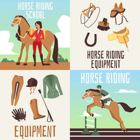 Equestrian sport cards or posters for horse riding and equipment sale, flat vector illustration. Banners collection for horse ride school with cartoon characters. Illusztráció