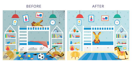 Childrens bedroom before and after cleaning, flat cartoon vector illustration. Comparison of dirty messy room and premise after tidying up for cleaning services ad.