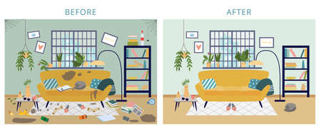 Dirty and clean room before and after cleanup, flat cartoon vector illustration. Background shows result of house cleaning and tidying for cleaning services.