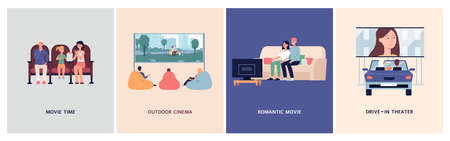 Set of posters for outdoor and home cinema with people watching movie on TV and in drive-in theater, flat vector illustration. Banners for online and outdoors cinema.