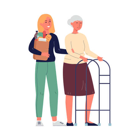 A young girl volunteer helps an elderly woman. A granddaughter carries food for her grandmother. Vector flat illustration isolated on a white background